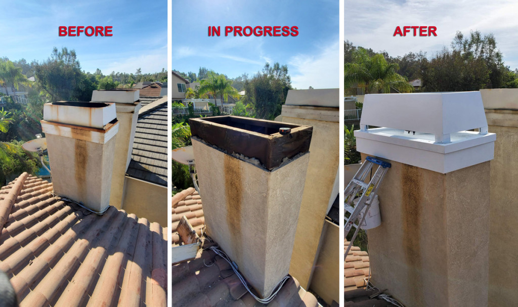 Before, during and after chimney cap replacement