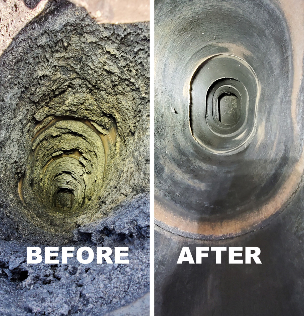 Dirty chimney before and after sweeping