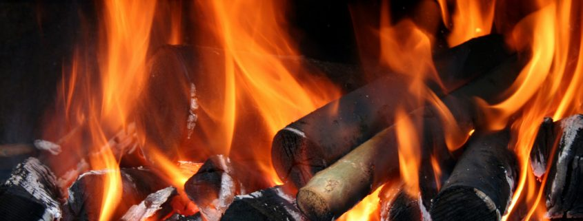 Fireplace firewood ash burning
