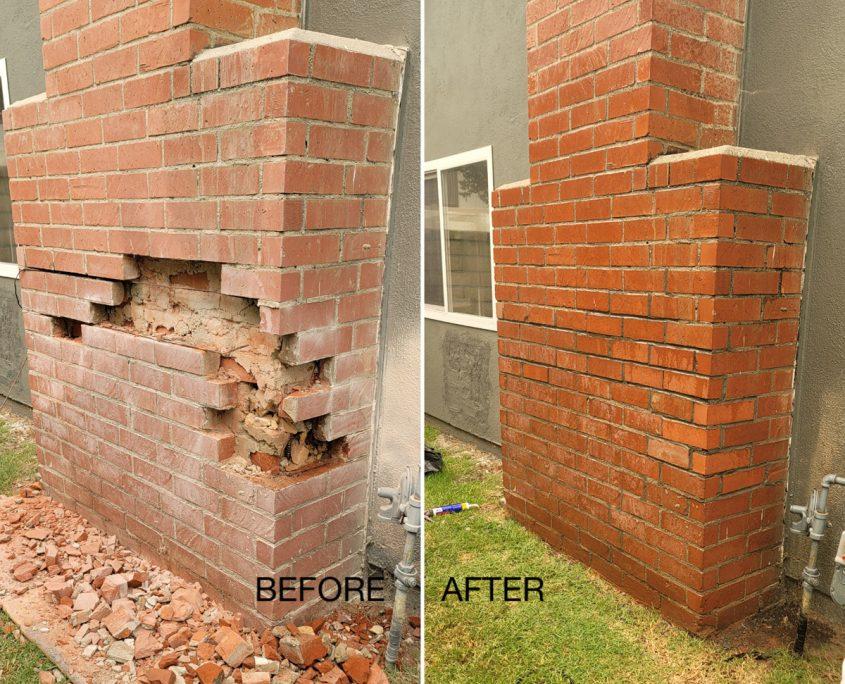 Chimney repair before & after